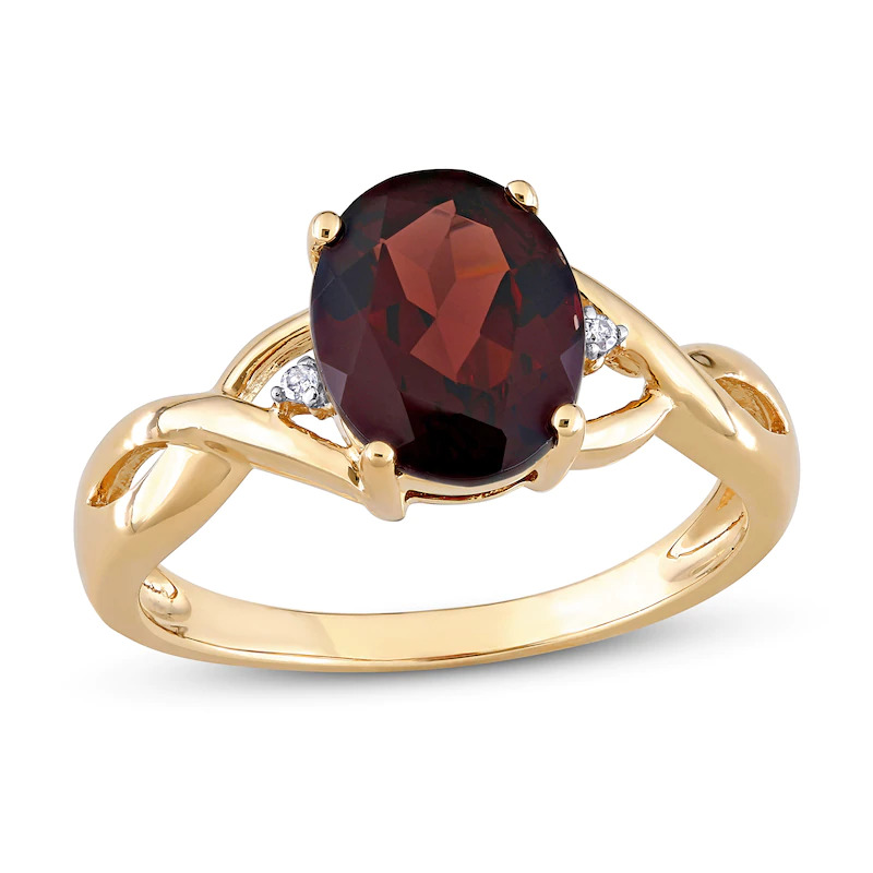 Jared Natural Garnet Ring Diamond Accents 10K Yellow Gold