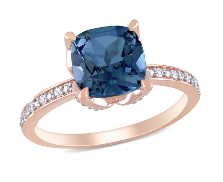Blue topaz and diamonds rose gold engagement ring