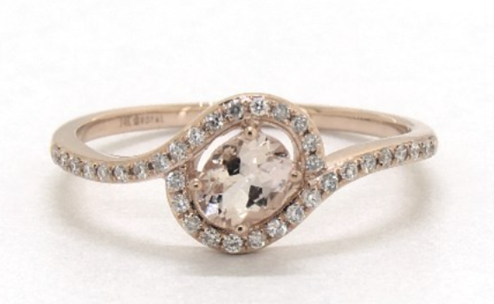 Rose gold twisted oval morganite engagement ring