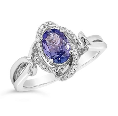 Tanzanite and diamonds sterling silver engagement ring
