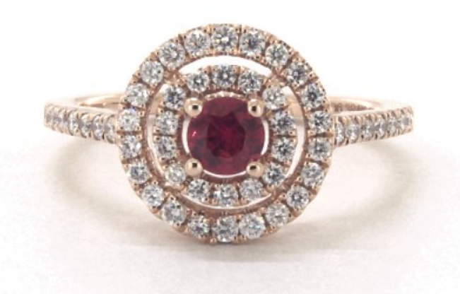 Rose gold double halo ruby and diamonds engagement ring