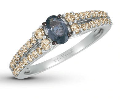 Grey spinel and vanilla diamonds engagement ring
